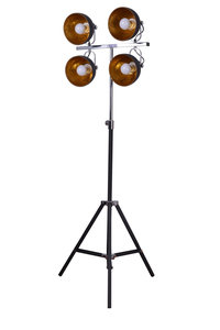 Toulon Industrieel Design Vloerlamp 4 Spots Goud Zwart