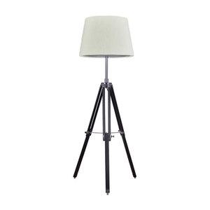 Rouen Industrieel Design Tripod Vloerlamp Zwart/Chroom Met Beige Lampenkap