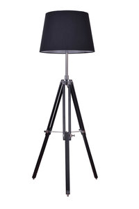 Rouen Industrieel Design Tripod Vloerlamp Chroom Met Zwarte Lampenkap