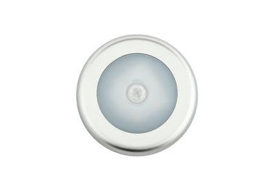 LED Kastverlichting 1W op Batterijen met Sensor, Grijs, Rond, Warm Wit