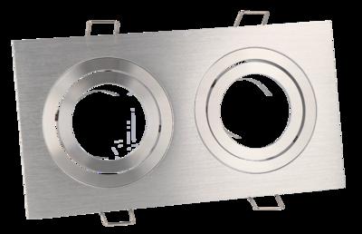 Inbouwspot (Dubbel), Vierkant, Kantelbaar, Geborsteld Aluminium