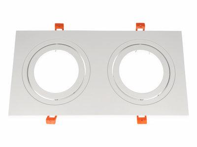 Inbouwspot (Dubbel), Vierkant, Kantelbaar, AR111, Mat Wit