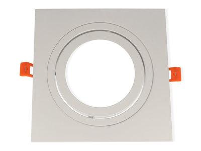 Inbouwspot Aluminium, Vierkant, Kantelbaar, AR111, Mat Wit
