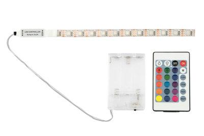 RGB LED Strip Waterdicht Op 3xAA Batterijen, Onderbouw