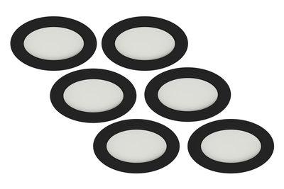 LED Inbouwspot 3W, Zwart, Rond, Warm Wit, Waterdicht IP65, Badkamer, 6-Pack