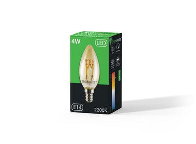 E14 LED Filament Kaarslamp Goud 4W Spiral Extra Warm Wit Dimbaar