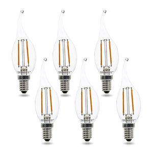 E14 LED Filament Kaarslamp Tip 2W Warm Wit Dimbaar 6-Pack