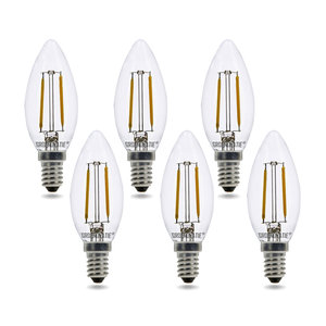 E14 LED Filament Kaarslamp 2W Warm Wit Dimbaar 6-Pack