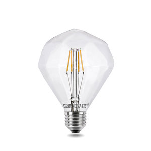 E27 LED Filament Diamant 4W Extra Warm Wit Dimbaar