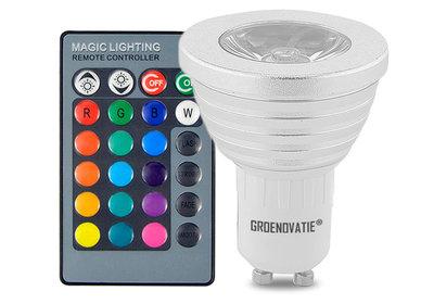 GU10 LED Spot 3W RGB Dimbaar Incl. Afstandsbediening