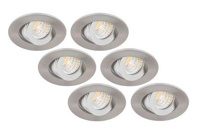 Inbouwspot LED 3W, Rond, Kantelbaar, Aluminium, Dimbaar, 6-Pack