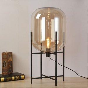Amber Glazen Tafellamp, Metaal, E27 Fitting, ⌀23x45cm, Zwart