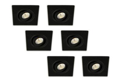 Inbouwspot LED 3W, Vierkant, Kantelbaar, Aluminium, Dimbaar, Zwart, 6-Pack