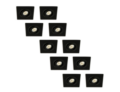 Inbouwspot LED 3W, Vierkant, Kantelbaar, Aluminium, Dimbaar, Zwart, 10-Pack