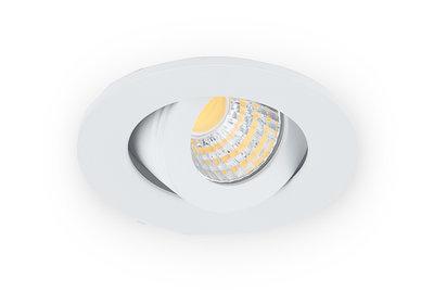 Inbouwspot LED 3W, Wit, Rond, Kantelbaar, Dimbaar, Neutraal Wit