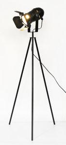 Brest Industriele Tripod Vloerlamp, Metaal, 53x140cm, Zwart