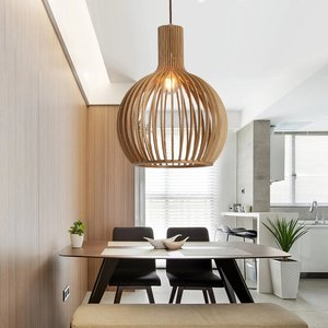 Lille Houten Design Hanglamp, E27 Fitting, ⌀38x58cm, Naturel