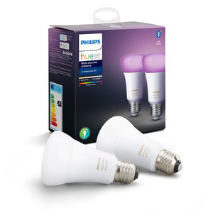 Philips Hue E27 LED Lamp 9W RGBWW, White and Color Ambiance, 2-Pack