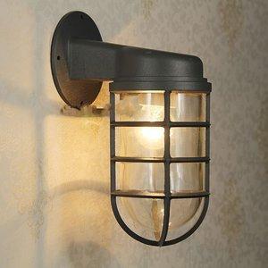 Industriële Wandlamp Kooi Voor Buiten, Zwart