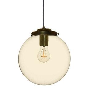 Metz Amber Glazen Design Hanglamp, ⌀30x32cm, Zwart