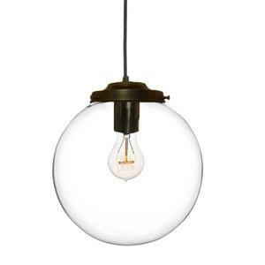 Metz Transparant Glazen Design Hanglamp, ⌀30x32cm, Zwart