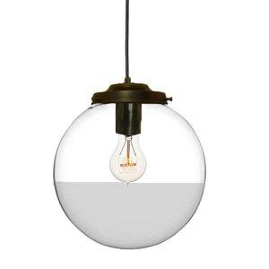 Metz Transparant/Smoke Glazen Design Hanglamp, ⌀30x32cm, Zwart