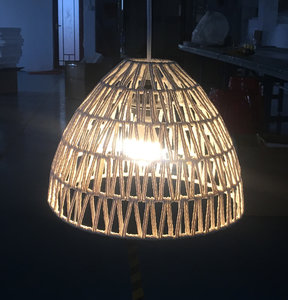 Jute Touw Hanglamp, Handgemaakt, Naturel, ⌀33 cm