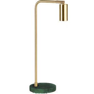 Marmeren Tafellamp, Metaal, E27 Fitting, ⌀15x28cm, Messing / Groen Marmer