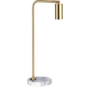 Marmeren Tafellamp, Metaal, E27 Fitting, ⌀15x28cm, Messing / Wit