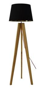 Menton Tripod Vloerlamp, Ø45x155cm, Hout Met Zwarte Lampenkap