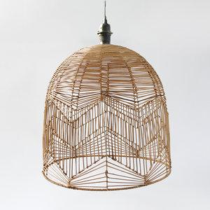 Rotan / Rieten Hanglamp XL, Handgemaakt, Naturel, ⌀60 cm