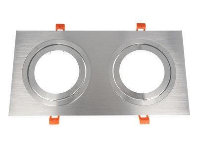 Inbouwspot (Dubbel), Vierkant, Kantelbaar, AR111, Geborsteld Aluminium