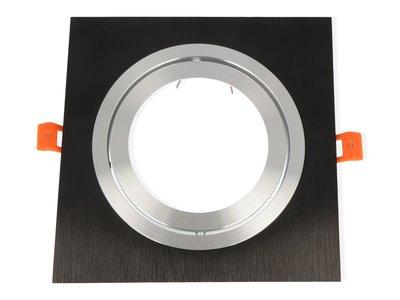 Inbouwspot Aluminium, Vierkant, Kantelbaar, AR111, Mat Zwart