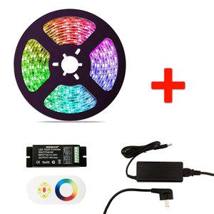 RGB LED Strip Set, 5 Meter, 14.4 Watt/meter, Met Adapter & Touch Controller