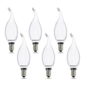 E14 LED Filament Kaarslamp Tip 2W Warm Wit Dimbaar Mat 6-Pack