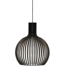 Lille Houten Design Hanglamp, E27 Fitting, ⌀45x54cm, Half Zwart