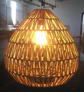 Jute Touw Hanglamp, Handgemaakt, Naturel, ⌀35 cm
