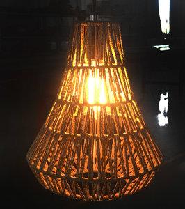 Jute Touw Hanglamp, Handgemaakt, Naturel, ⌀26 cm