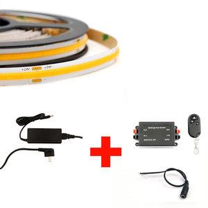 LED COB Strip Set, 5 Meter, 5 Watt/meter, Warm Wit, Met Adapter & Draadloze Dimmer