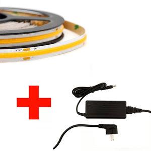 LED COB Strip Set, 5 Meter, 5 Watt/meter, Warm Wit, Met Adapter