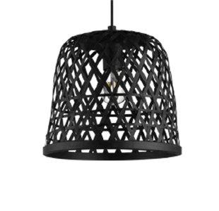 Bamboe Hanglamp, Handgemaakt, Zwart, ⌀40 cm