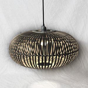 Bamboe Hanglamp, Handgemaakt, Zwart, ⌀50 cm