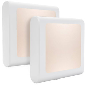 LED Nachtlampje Stekker Met Lichtsensor, Vierkant, Schemersensor, Dimbaar, Warm Wit, 2 Stuks