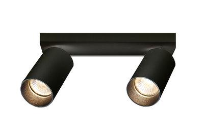 Plafondspot Rond, 2-Lichts, Kantelbaar, GU10 Fitting, Zwart