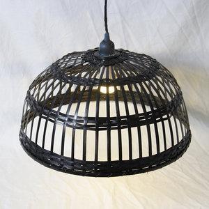Bamboe Hanglamp, Handgemaakt, Zwart, ⌀45 cm