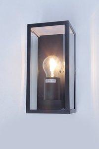 Wandlamp Glas, Modern Design, E27 Fitting, Waterdicht IP44, Zwart