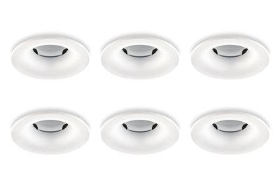 Inbouwspot, Rond, Waterdicht IP65, Ø85 mm, Mat Wit, 6-Pack