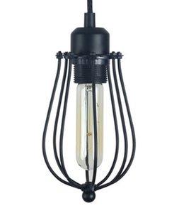 Metalen Hanglamp Cage, E27 Fitting, Ø12x23cm, Zwart