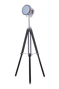 Maritieme Industrieel Design Tripod Vloerlamp Chroom Zwart
