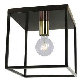 Metalen Plafondlamp Zwart Messing, E27 Fitting, 25x25 cm